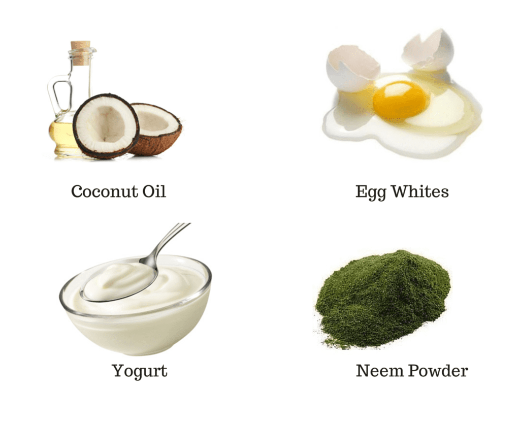Coconut Oil, Egg, Yogurt, Neem Powder